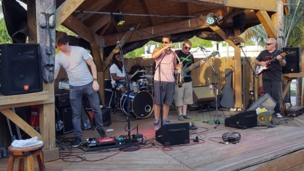 Rogue Theory sound check at the Fish Depot